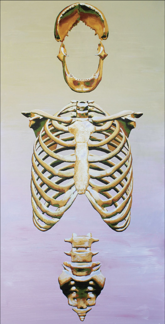 Olicorno, BONES, ''Construction #5'', acrylics on canvas, 96''x48''